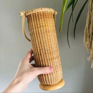 Tall Wine Holder Vase Basket Wicker Bamboo Rattan